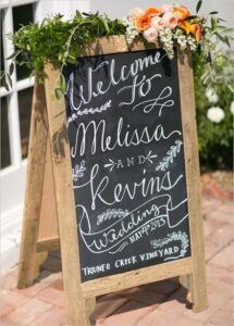Large chalk board sign with a welcome post written in white chalk.