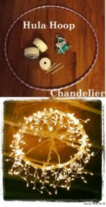 Hula hoop wrapped with string lights for DIY wedding decor.