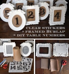 Collage of taking white picture frame and adding in numbers to create table number signs for wedding.