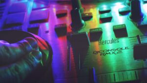 DJ sound board buttons.