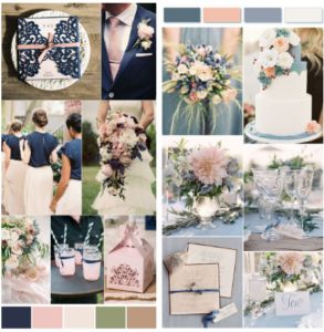 Navy blue, tan, pink and light blue color palette for wedding.