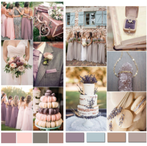 Blush, pink, purple and tan color pallets for wedding colors.
