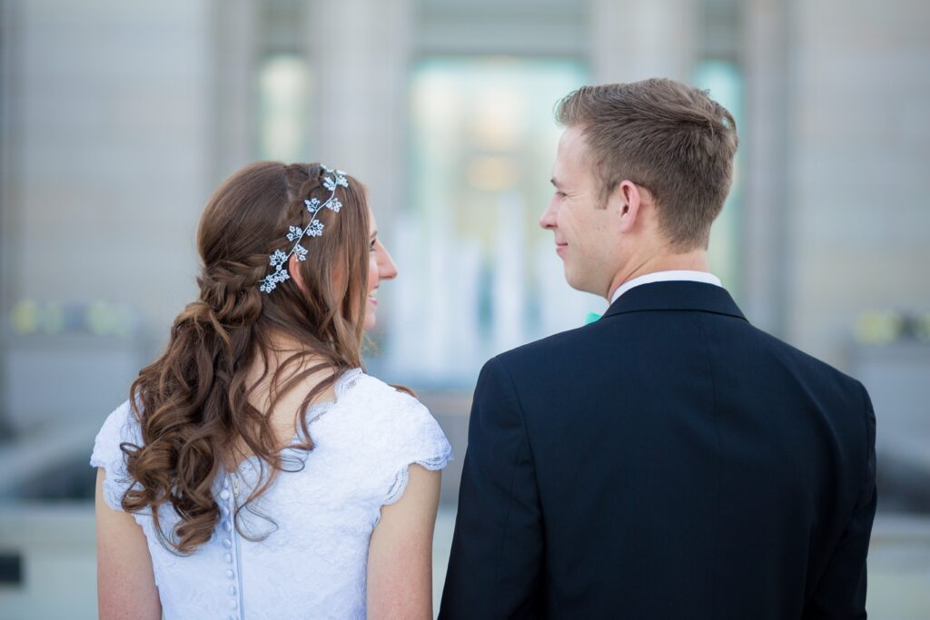 Bride and Groom looking at each other.