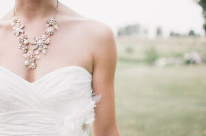 Wedding dress with matching necklace